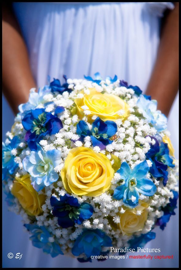 country style weddings in blue and yellow | Bridesmaids bouquets in ...