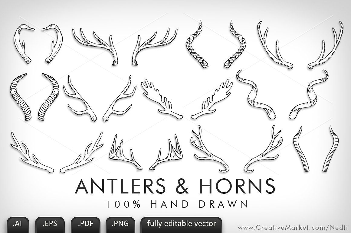 Antlers and Horns Handdrawn Vector #AI#Illustrator#includes