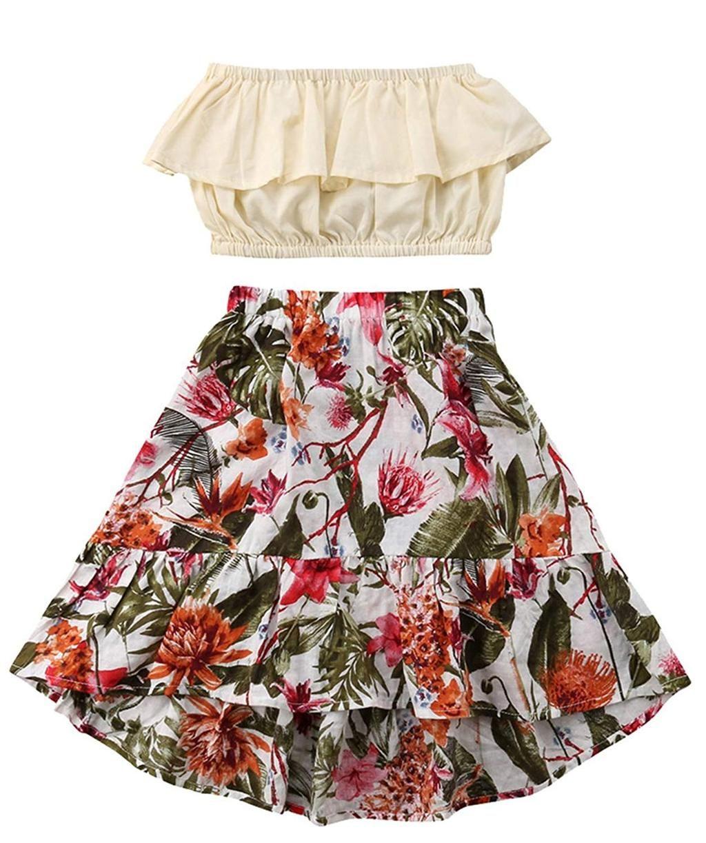 Summer Girl Sleeveless Top Skirt Dress Casual Skirt Outfits Little Girl Summer Dresses Printed Long Skirt [ 1223 x 1024 Pixel ]