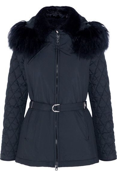 CHLOÉ Hooded Shearling-Trimmed Quilted Shell Jacket. #chloé #cloth #coats