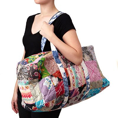 Look what I found at UncommonGoods: upcycled cotton sari duffle bag... for $49 #uncommongoods