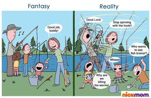 Fantasy Vs. Reality: Family Fishing Excursion   More LOLs & Funny Stuff for Moms   NickMom