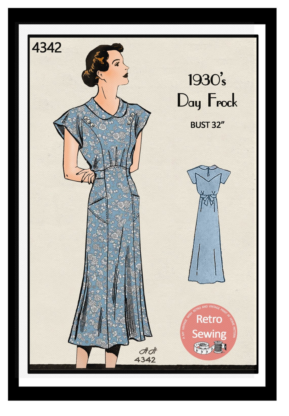 1930s Casual Tea Dress With Pockets Sewing Pattern Pdf Etsy Tea Dress 1930s Dress Pattern Vintage Dress Patterns [ 1442 x 1000 Pixel ]