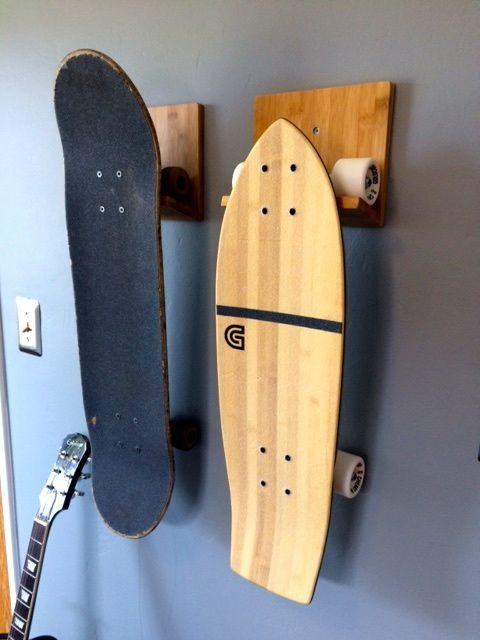 Skateboard Wall Rack Bamboo Or Black Skateboard Room Bamboo Skateboards Skateboard Racks Diy