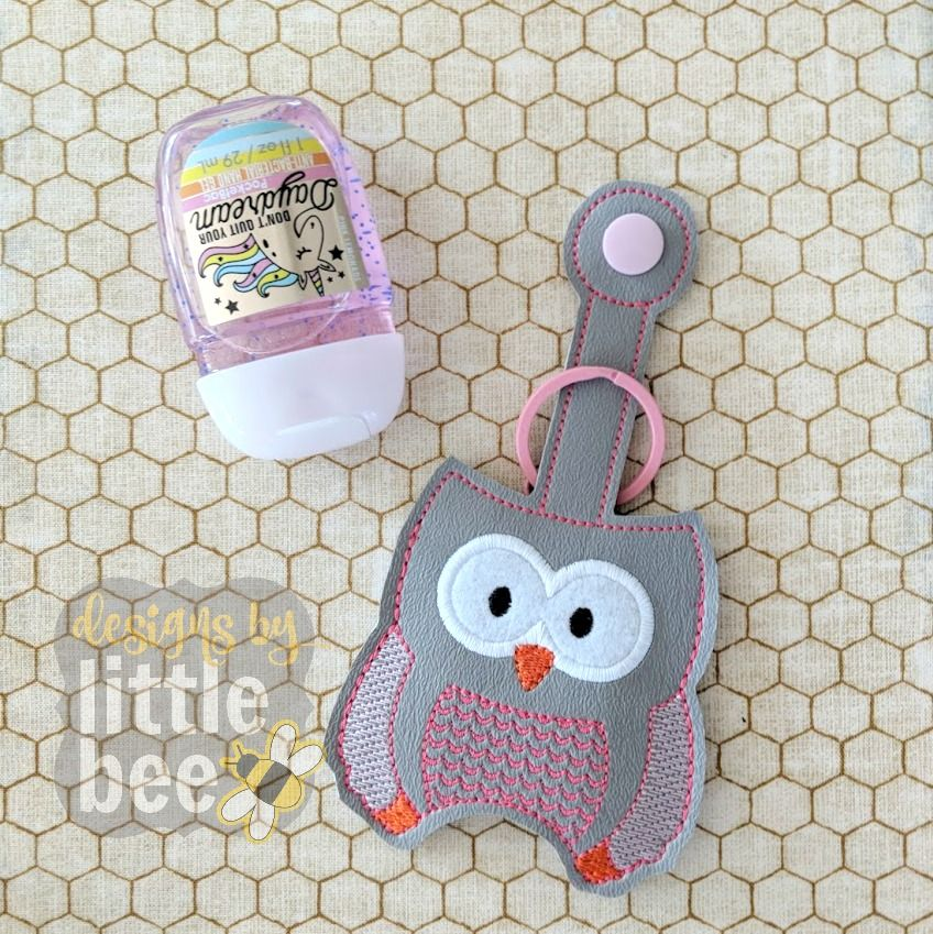 Owl Hand Sanitizer Holder Key Fob Snap Tab 02 16 2018 Hand