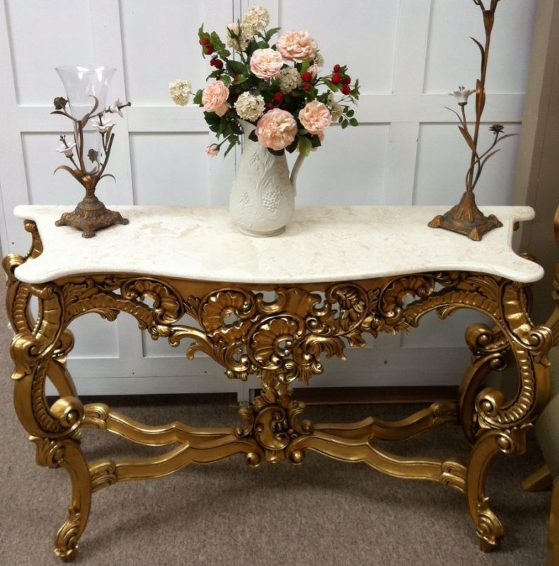 Delightful Ornate Furniture | DCC09 Ornate Console Table With Marble Top