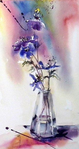 French Watercolor Artist Catherine Rey Variation Peinture Fleurs