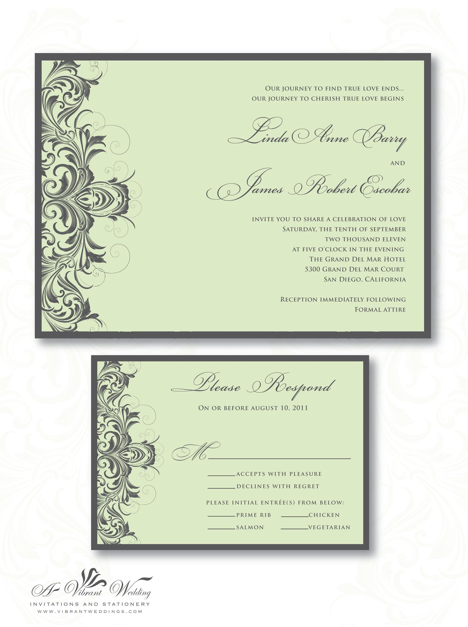 Sage Green and Lavender escort cards | Sage Green and Grey Wedding Invitation with Victorian Scroll Design .