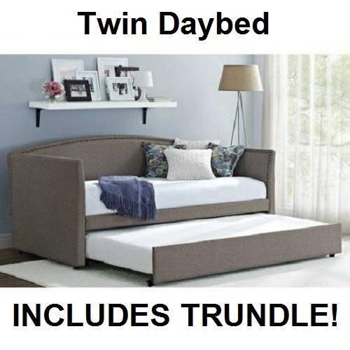 Daybed with Trundle Gray Upholstered Linen Day Bed Grey Twin Sofa – Twin Sofa Sleeper