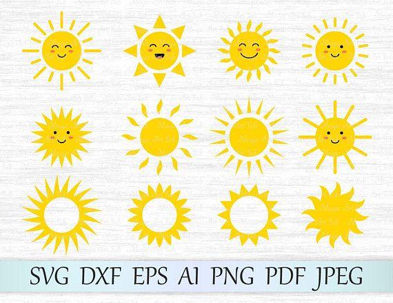 Sun svg, Sun clipart, Cute sun svg file, Sun face svg, Sun vector, Sun cricut, Sun cut file, Sun silhouette, Sun clip art, Monogram sun svg