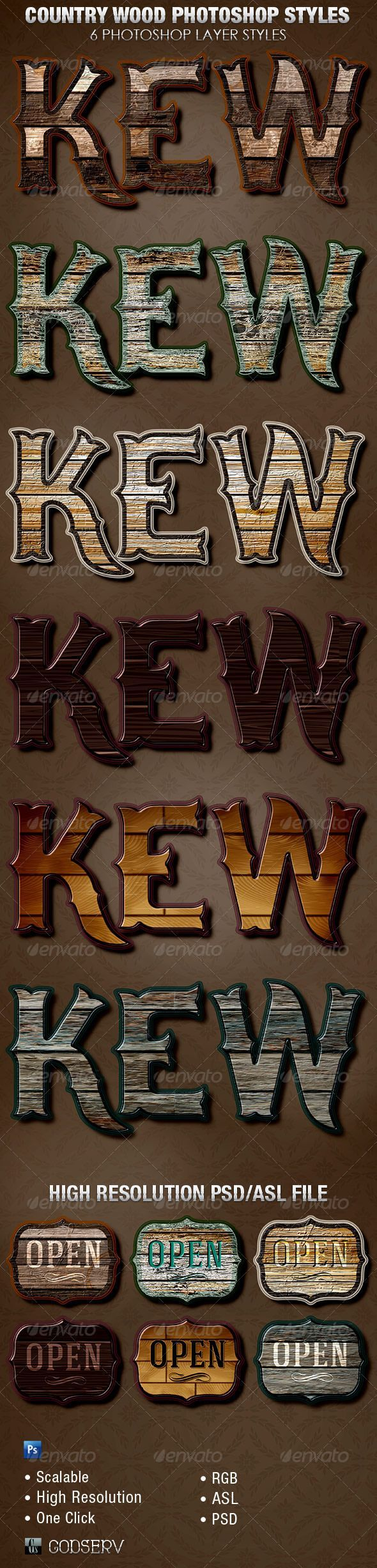 Country Wood Photoshop Layer Styles ...  asl, barbeque, beveled, burnt, carved, contoured, country, cowboy, effect, effects, flyer, furniture, fx, games, godserv, layer, movie, old, photoshop, red, rotten, skin, styles, text, textured, western, wood, wooden