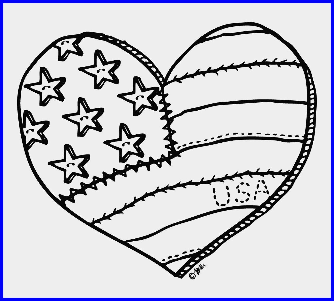 American Flag Heart Coloring Pages Heart Coloring Pages