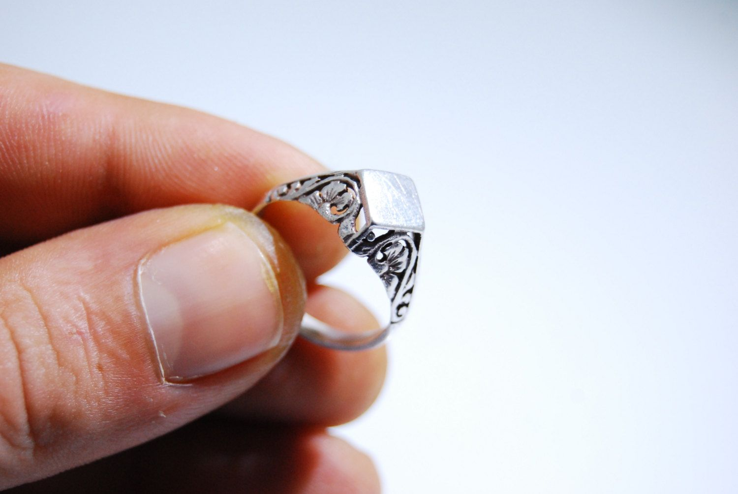 Free Shipping SR507 Vintage Estate Sterling Silver Delicate Filigree Ring 925 Us Size 7.5 Jewelry Jewellery, gift for her by RusticHomeDeco on Etsy