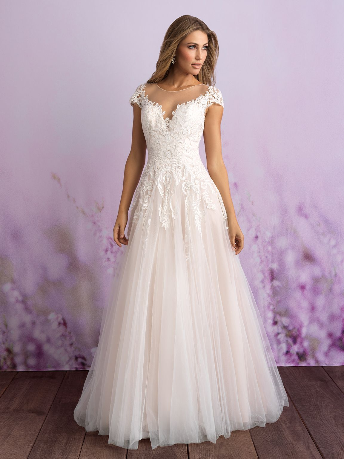 3117 Romantic And Timeless This Tulle Gown Features Illusion Cap