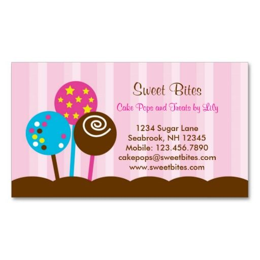 cake pops bakery business card - Bakery Business Cards