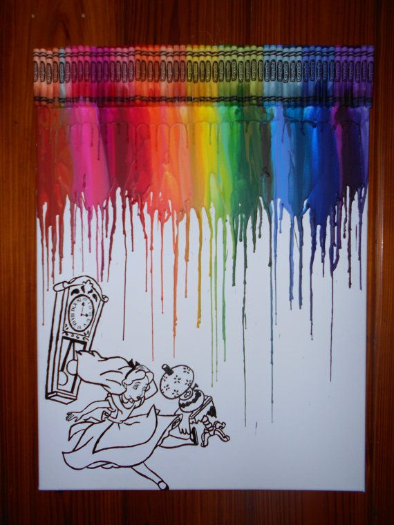 Alice In Wonderland Melted Crayon Painting By