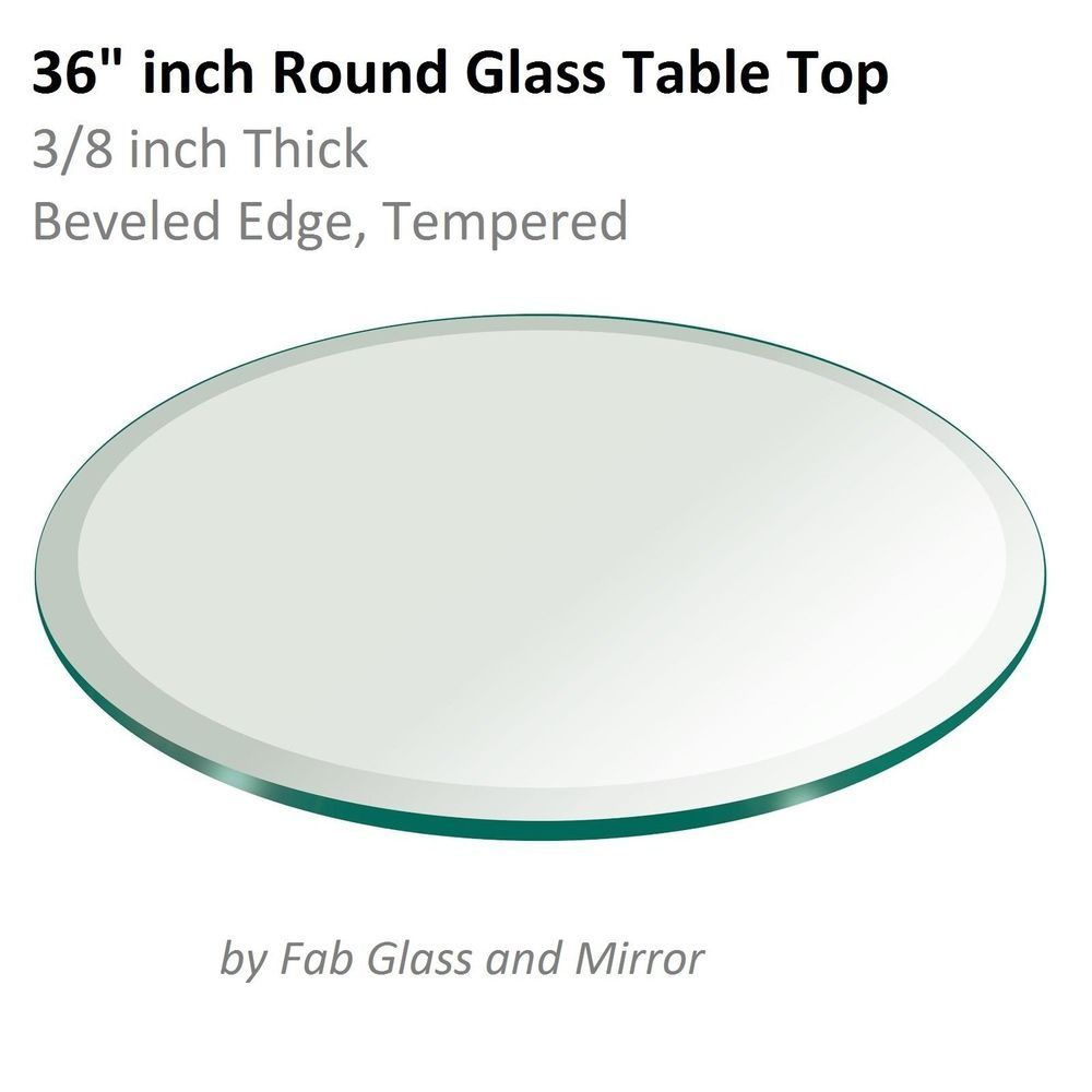 Fab Gl And Mirror 36 Inch Round Table Top 3 8 Thick Tempered Beveled 696226097155 Ebay