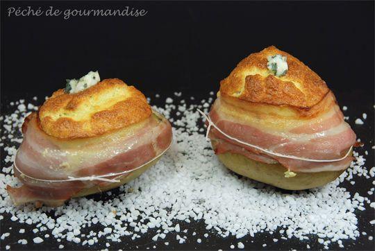 Pommes de terre soufflées au roquefort
