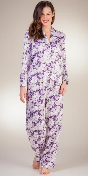 Brushed Back Satin Pajamas By Carole Hochman in Violet Goddess My