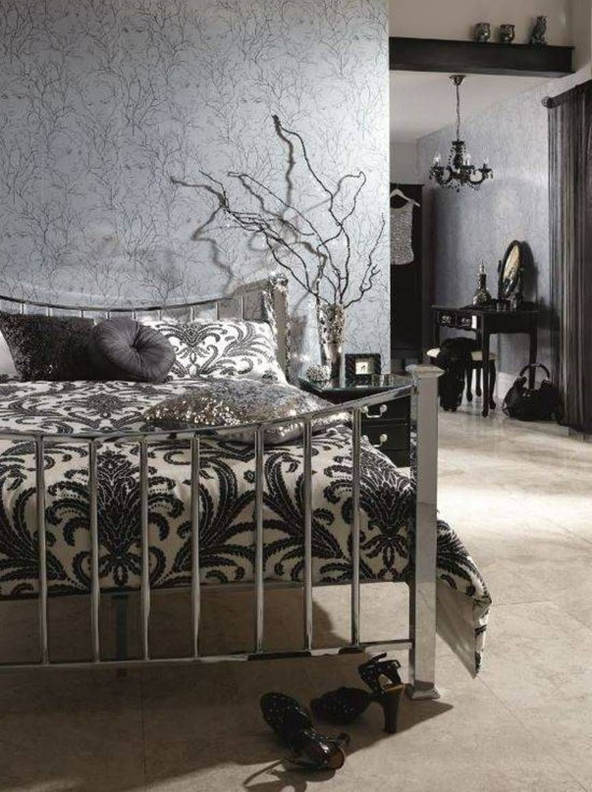 Modern Gothic Bedroom Decor With Silver Bed And Wallpaper Medieval