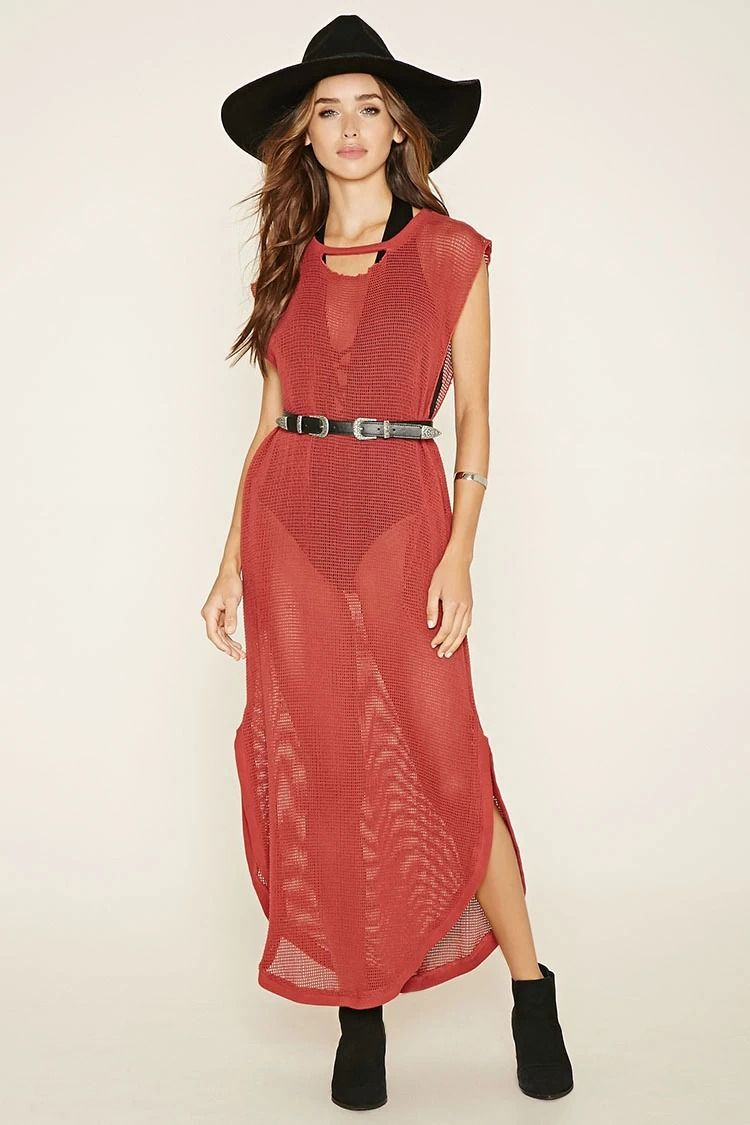 Crafted from knit netted mesh this sleeveless sheer maxi dress by