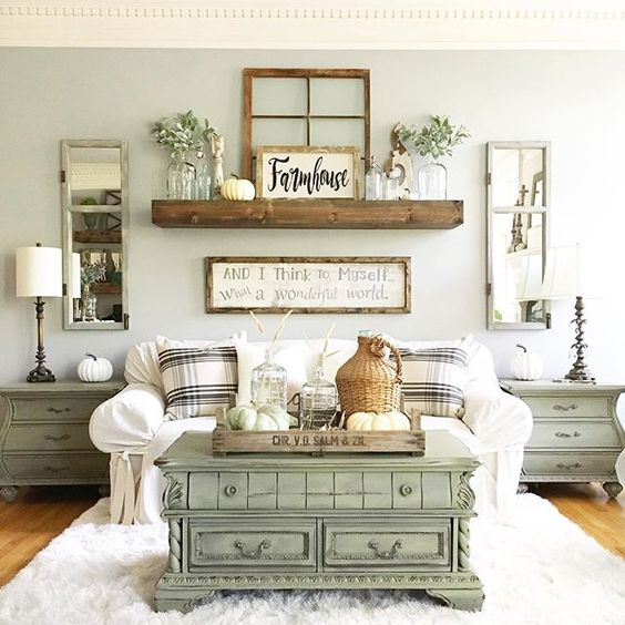 20 Beautiful Rooms Incorporating The Color Sage Green Living Room Decor Rustic Urban Farmhouse Living Room Farmhouse Decor Living Room