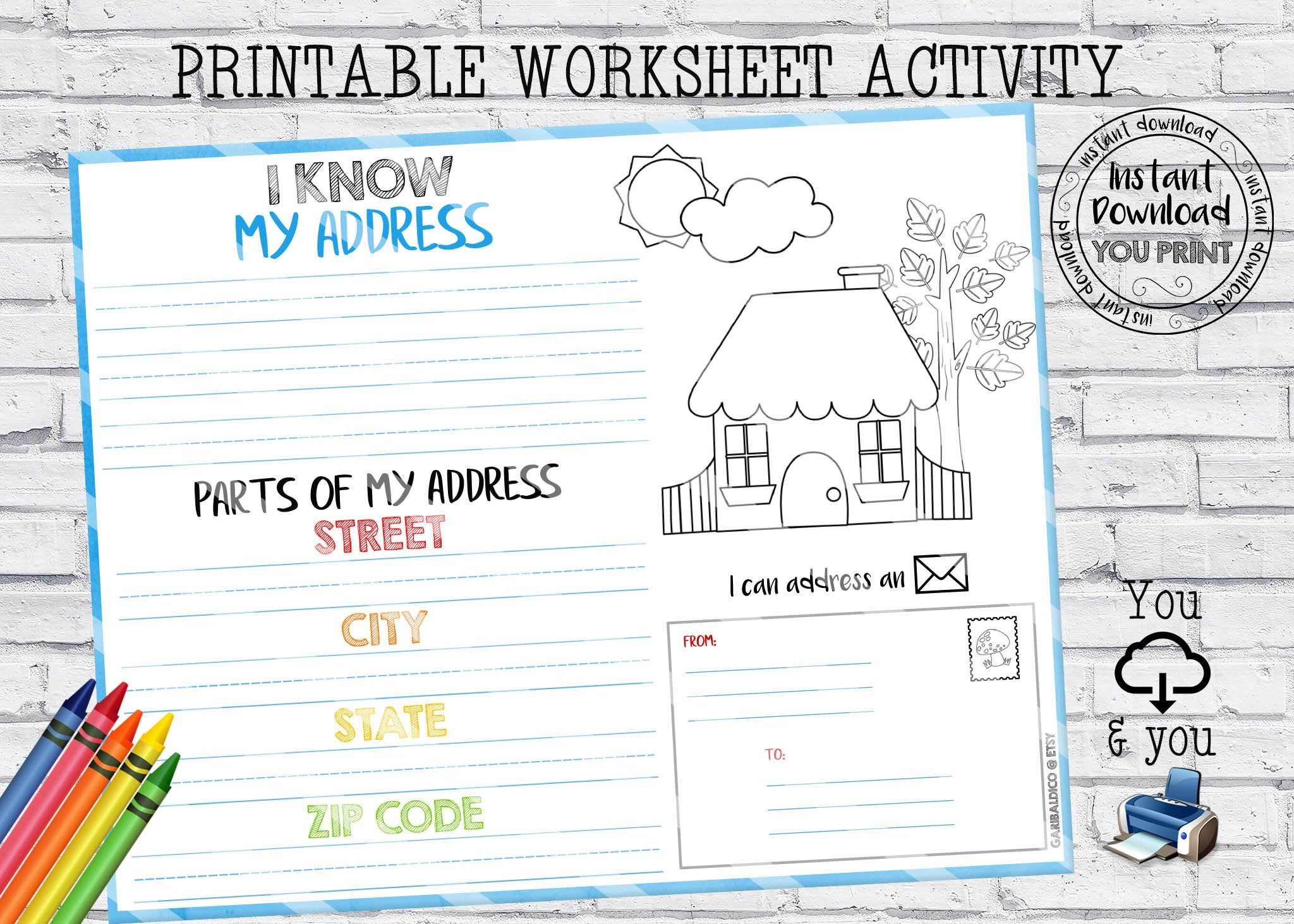 My Address Worksheet Homeschool Address Kids Activity Home