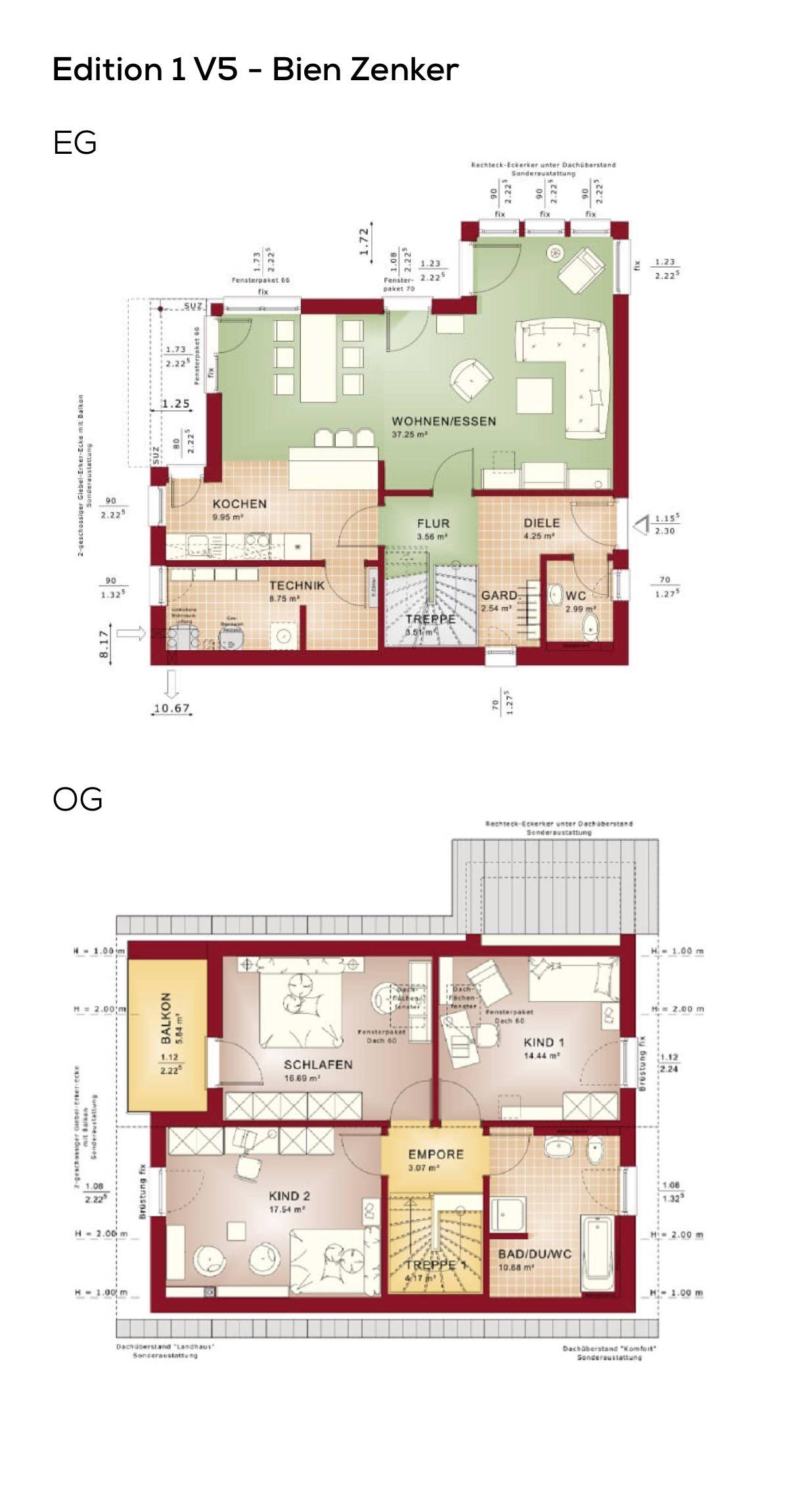 Grundriss Einfamilienhaus klassisch mit Satteldach & Erker