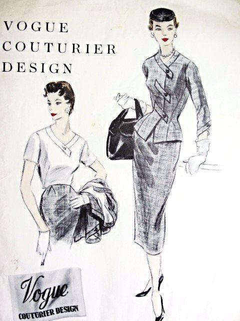 1950s High Fashion Suit And Blouse Pattern Vogue Couturier Design 808 Slim Skirt Figure Hug Vintage Dress Design Vintage Clothes Patterns Blouse Patterns Vogue