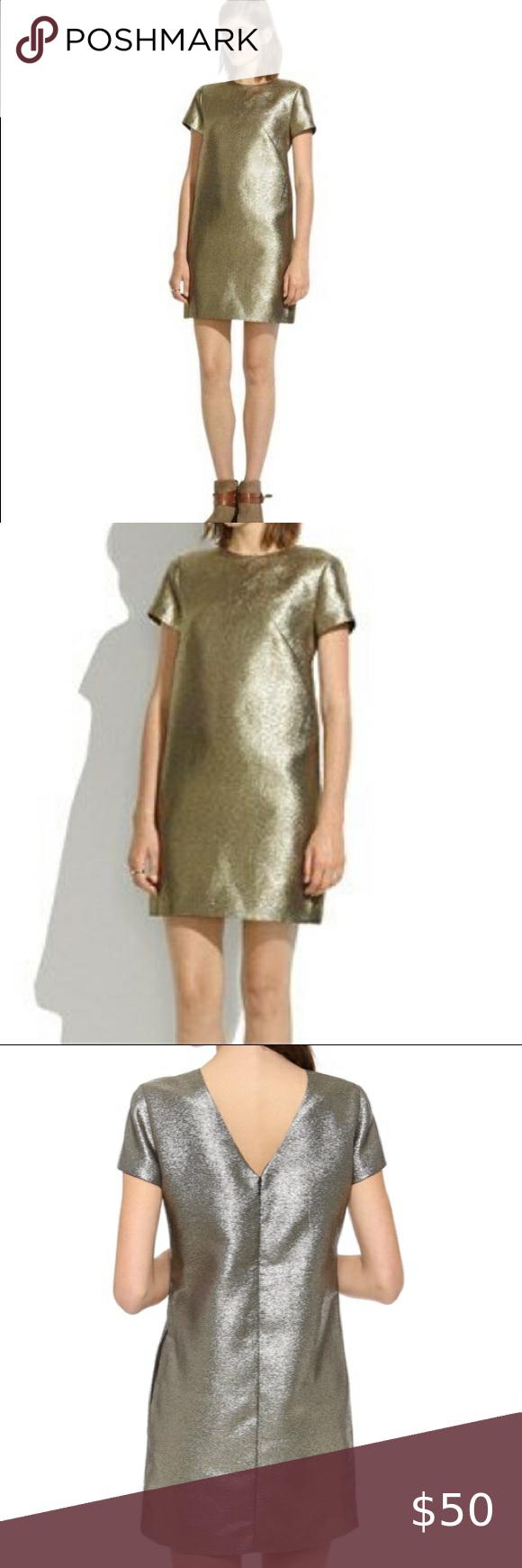 Madewell Metallic Gold Shift Dress Shift Dress Clothes Design Fashion [ 1740 x 580 Pixel ]