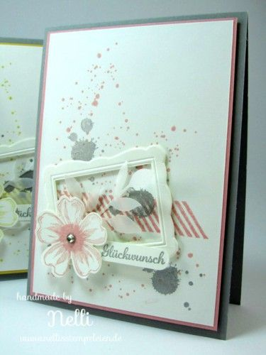Stampin' Up! stamp set Gorgeous grunge, Flower Shop, pansy punch, Designer Frames embossing folder