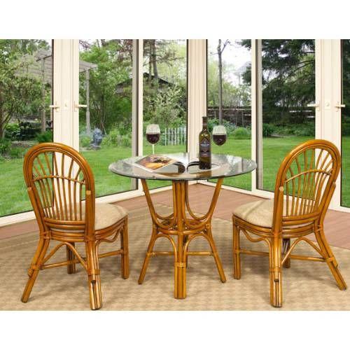 Boca Rattan 104011 3pcs Antigua 3 Piece Cafe Set Includes 2 Side Chairs And Cafe Table In Royal Oak Cadeira De Bambu Bambu