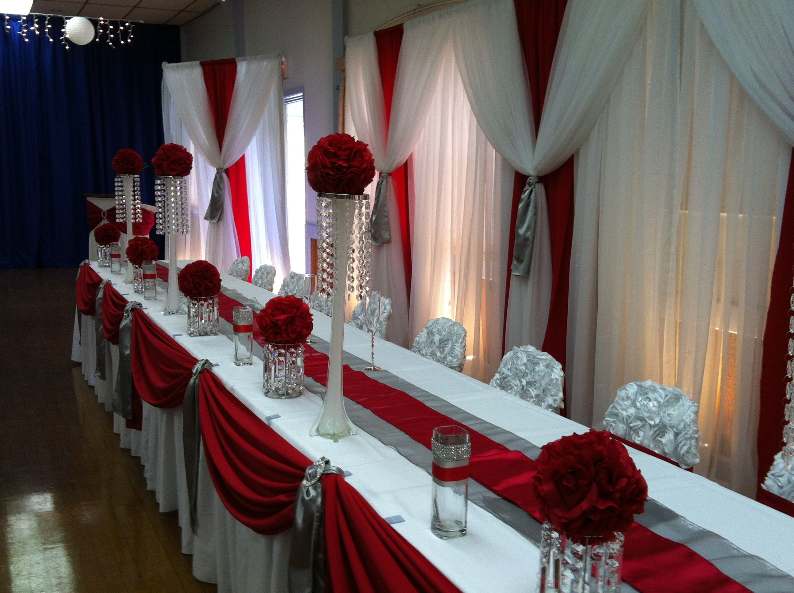 Image result for red wedding head table decor Head table