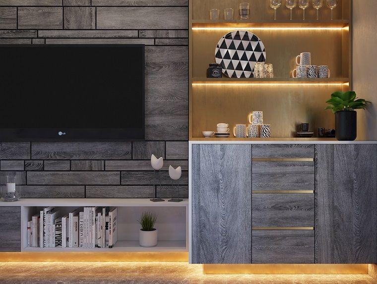 Mobili soggiorno di legno e colore grigio zona bar con