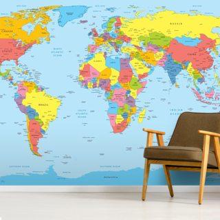 Colourful World Map #worldmapmural