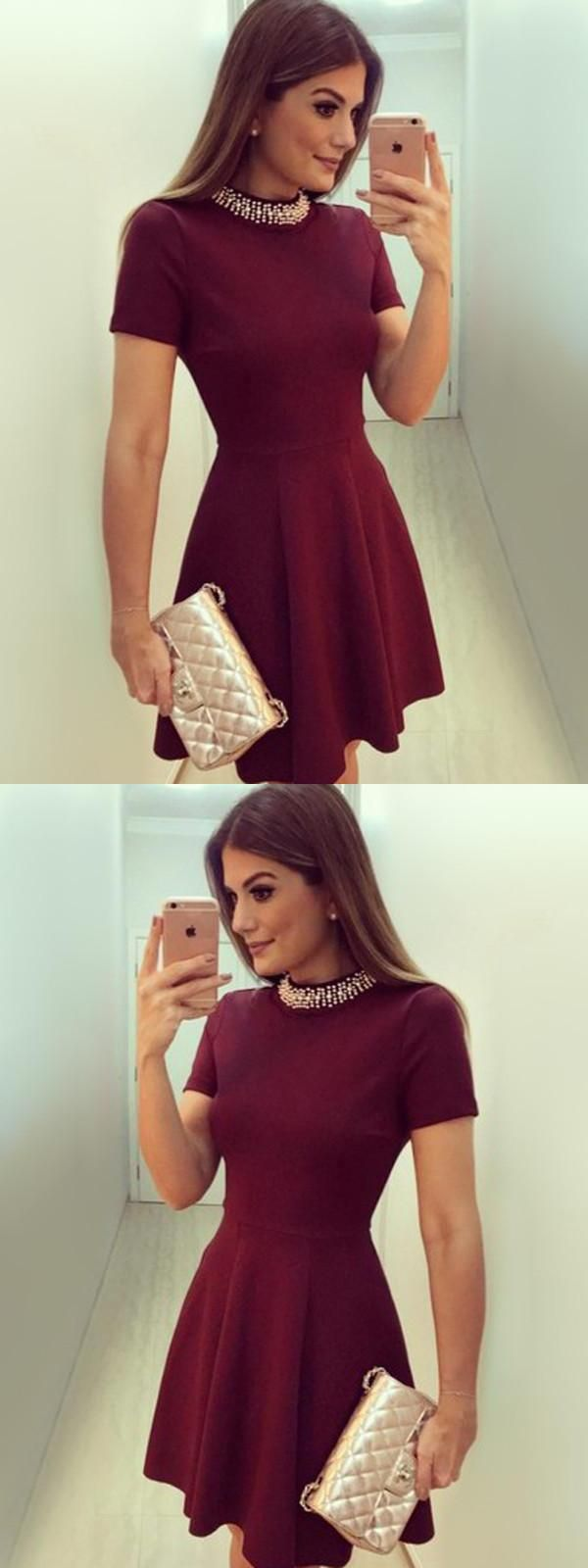 Outlet fetching burgundy short in homecoming dresses