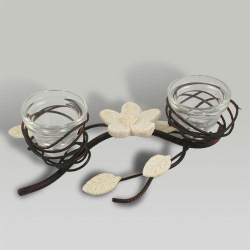 Porta velas de estilo rom ntico realizado en hierro y - Portavelas de hierro ...