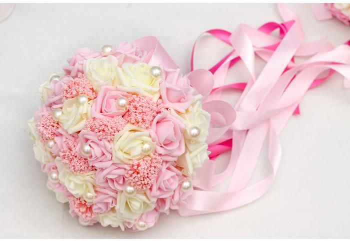 New arrival bridal bouquets 2015 pink light blue artificial flowers new arrival bridal bouquets 2015 pink light blue artificial flowers for wedding bouquet bridesmaid supplies silk mightylinksfo