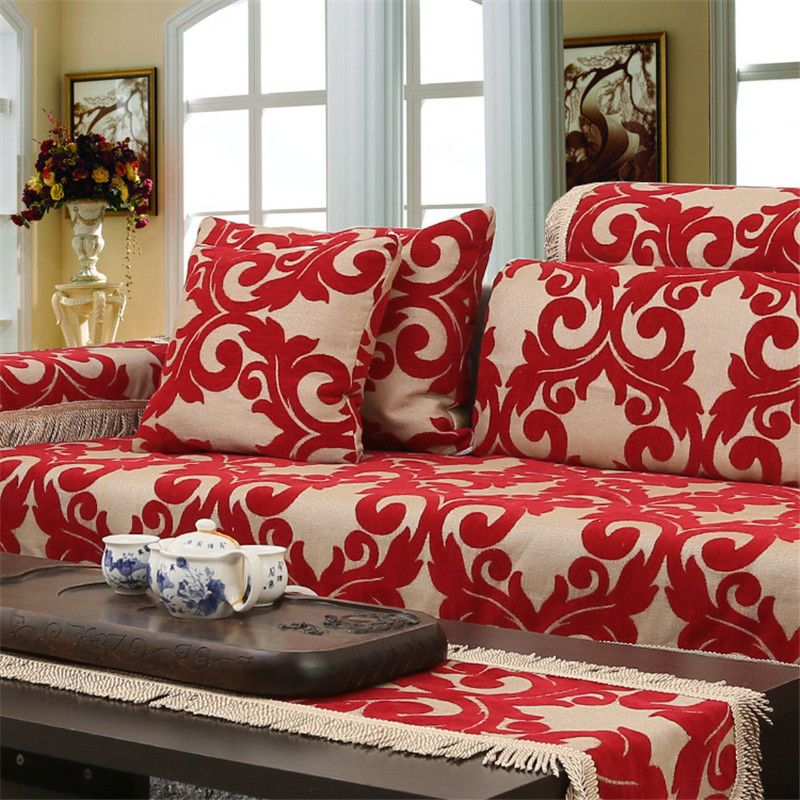 Beautiful Jacquard Corner Couch Cover Flocked Fabric Cover Sofa Home Textile Leather Sofa  Covers Set Red Chenille