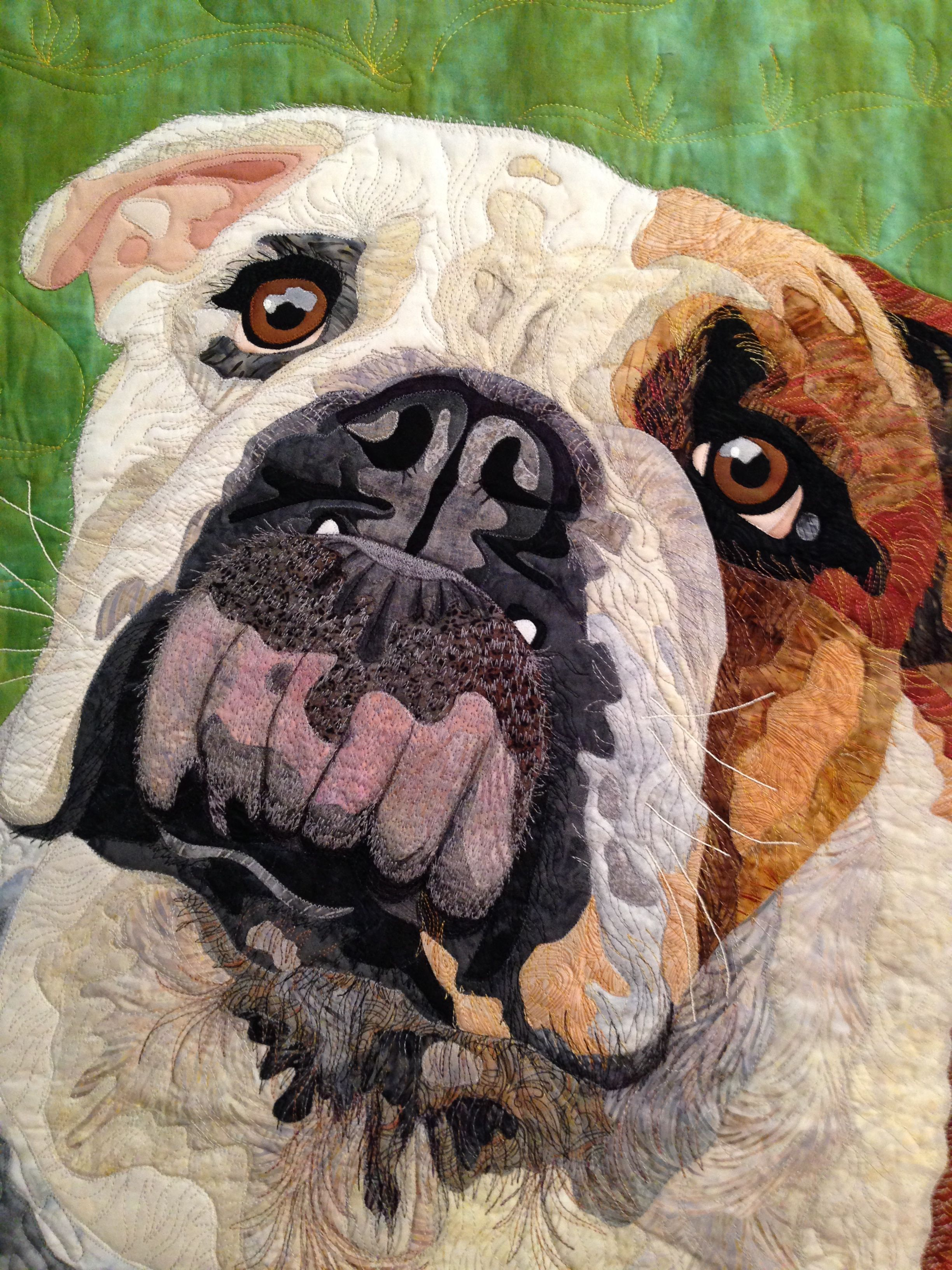 english bulldog art quilt quiltmarket Picture quilts