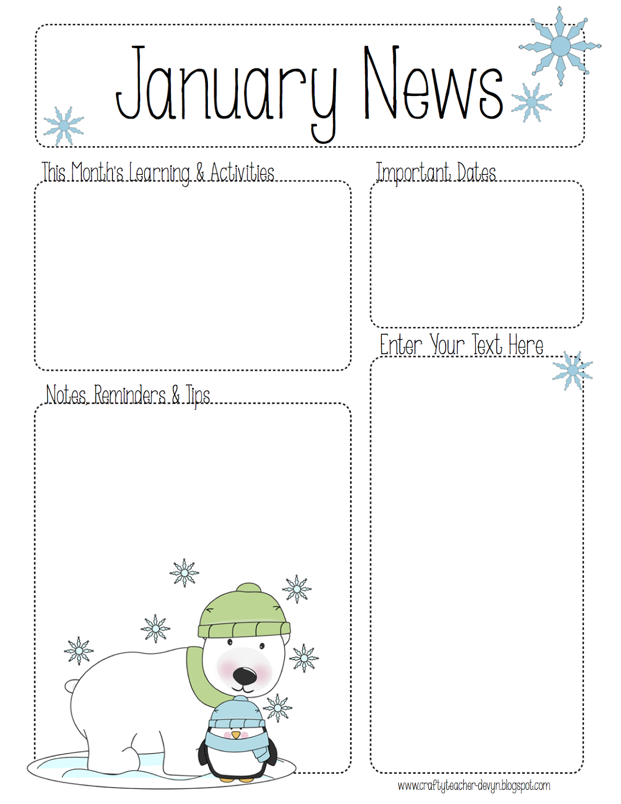 January Newsletter For All Grades Preschool Pre K Kinder Etc