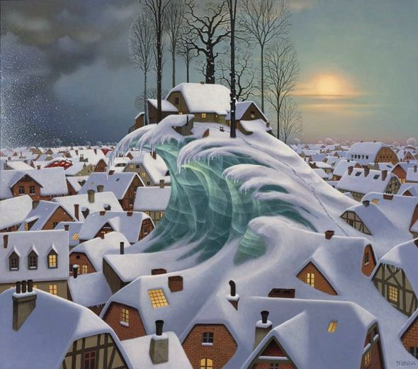 Along with some magnificent dreams, Jacek Yerka finds inspiration for his masterful paintings from his childhood memories: the places, remembered feelings and smells of 1950′s Poland.
