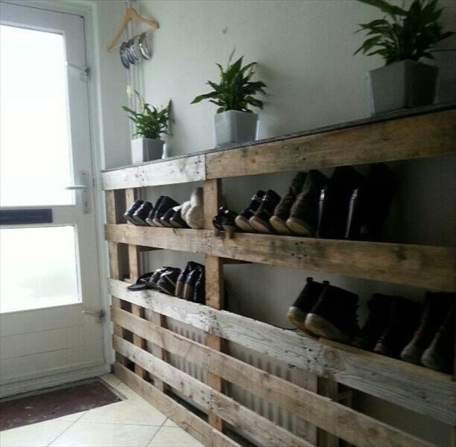 Pallet wood redone to create a shoe rack pallet for Shoe rack made from pallets