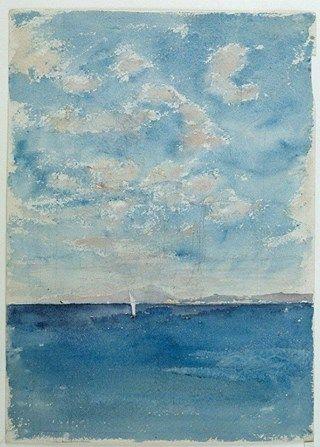 """colin-vian: """"  Mariano Fortuny - Sea. Vesuvius in the background. 1874 """""""