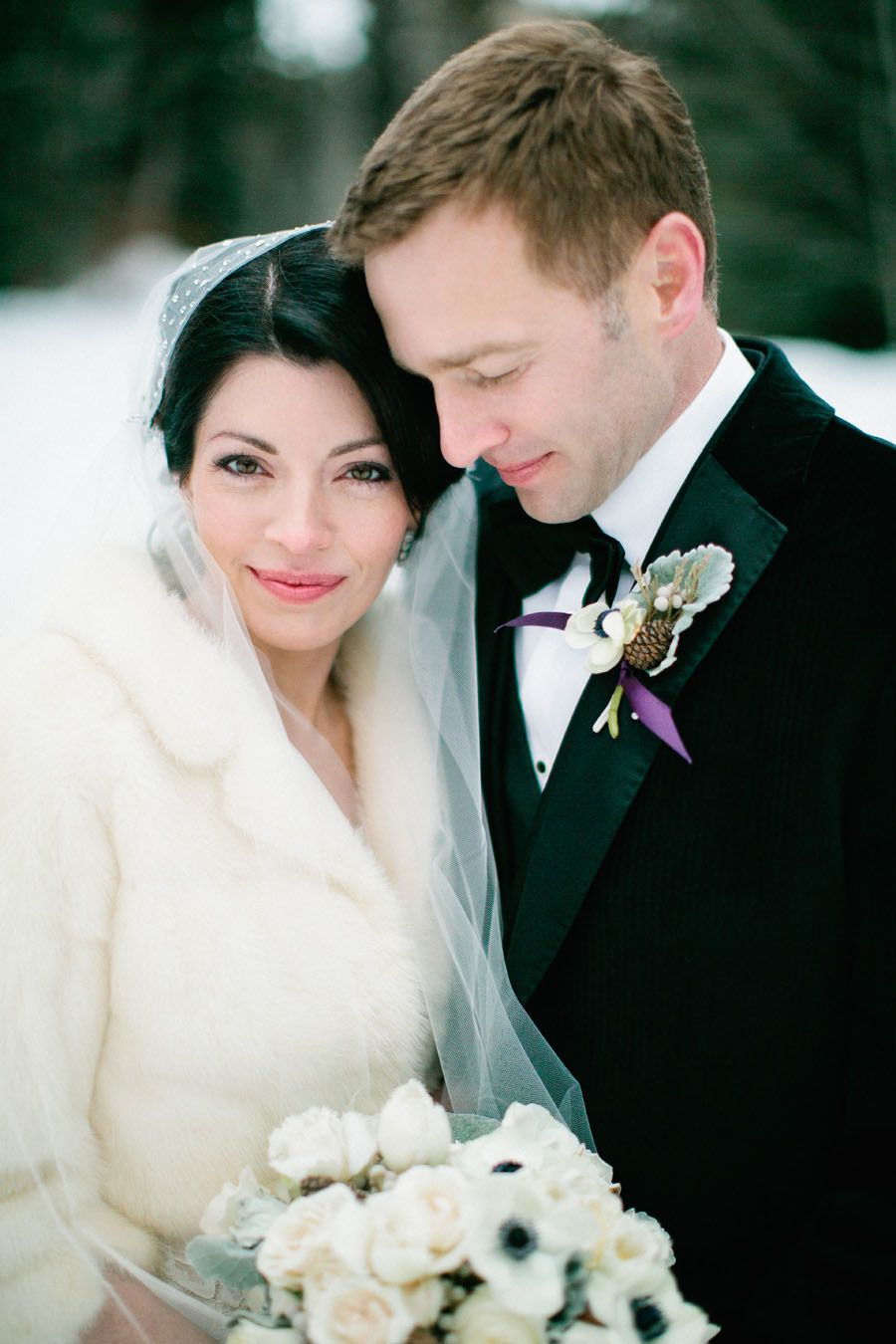 Bride & Groom Style for a Winter Wedding Date! White faux fur coat on the bride.
