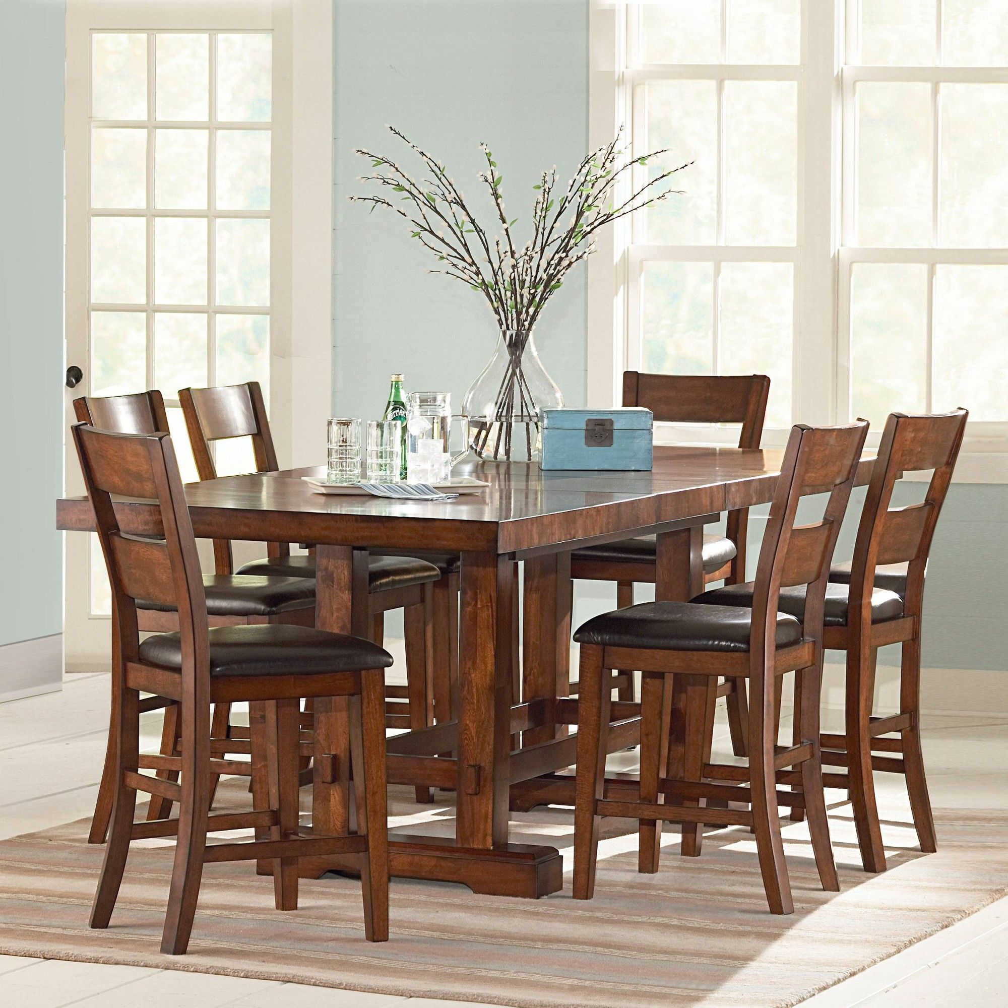 7pc Dion Counter Height Dining Set Cherry (Red) - Steve ...