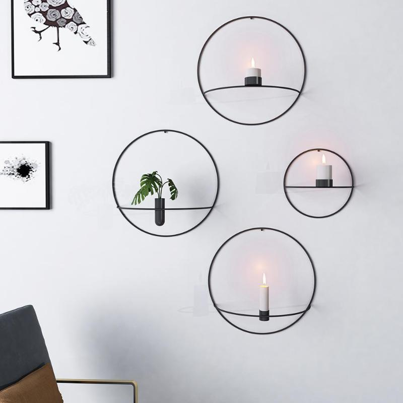 New Nordic Style Candlestick Metal Wall Candle Holder Geometric Round Candlestick Wal Wall Mounted Candle Holders Wall Candle Holders Metal Wall Candle Holders