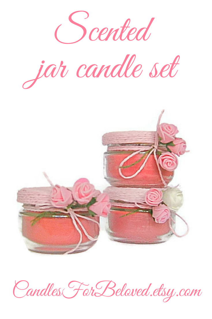 Rose Candle Set Pink Flower Scented Candles Bridal Shower Hostess ...
