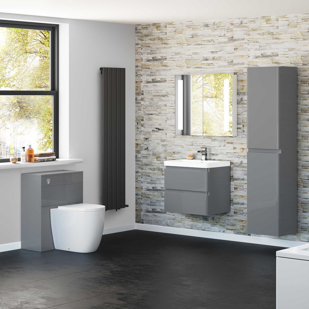 Modern Pebble Grey Cabinet Sink Basin Vanity Storage Unit Bathroom