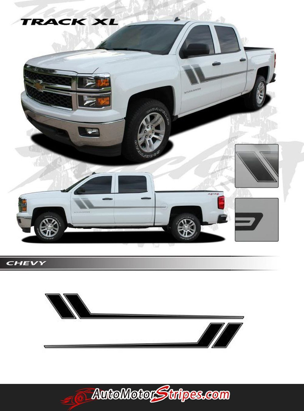 Vehicle specific style chevy silverado truck track xl side door hockey vinyl graphic stripe decals year fitment 2007 2008 2009 2010 2011 2012 2013 2014